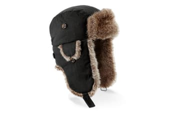 Beechfield Unisex Urban Winter Trapper Hat With Faux Fur Trim (Black)