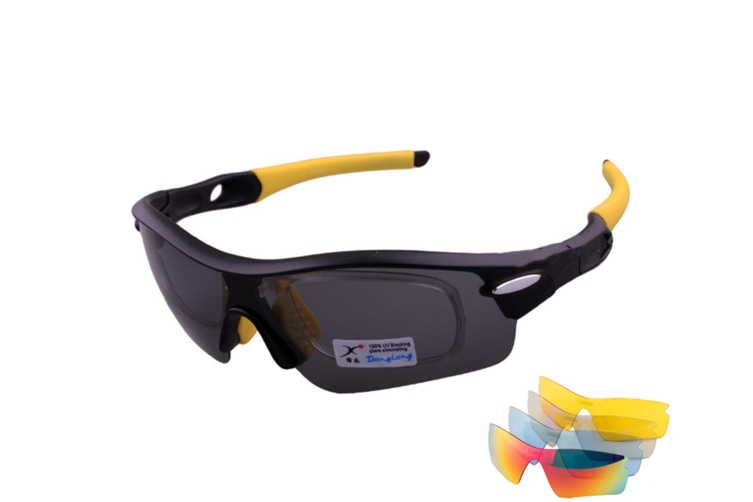 Outdoor Mountain Bike Riding Glasses Windproof Polarizing Glasses 5 Pieces Suit - Yellow Yellow 5Pcs