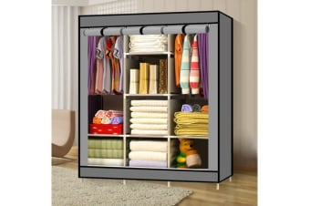 Grey Large Portable Clothes Closet Canvas Wardrobe