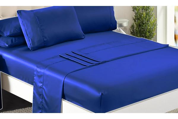 Luxury Super Soft Silky Satin Fitted/ Flat Sheet Pillowcases Bed Set VY BLUE King