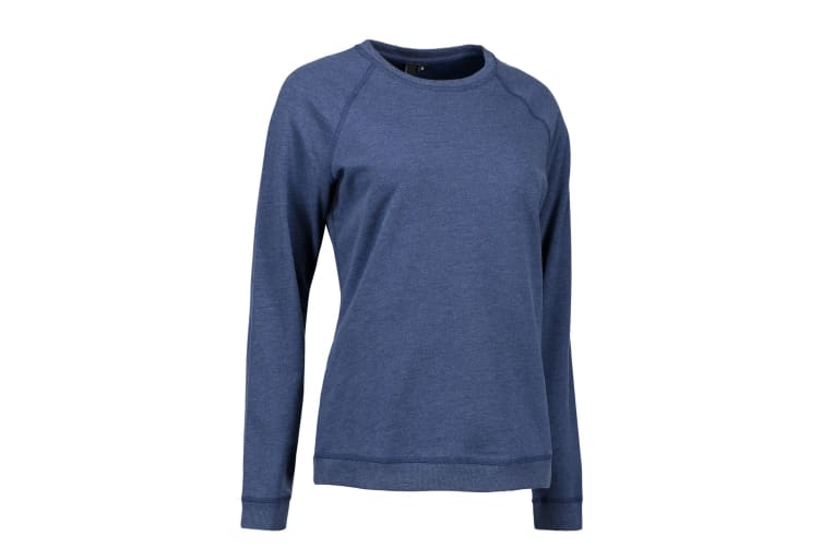ID Womens/Ladies Round Neck Casual Sweatshirt (Blue Melange) (S)