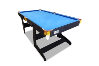 6FT Blue Felt MDF Foldable Fold Away Pool Table for Billiard Snooker Free Accessory for Kids and Teenage, Easy Storage