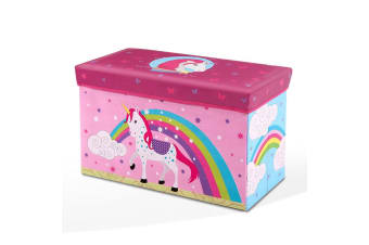 Kids Foldable Storage Toy Box in Pink with Unicorn