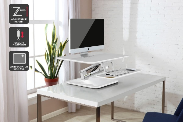 Ergolux Lite Height Adjustable Sit Stand Desk Riser (Compact, White)