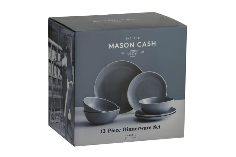 12pc Mason Cash Dinner Set Plates Bowls Side Dish Dining Kitchen Tableware Grey