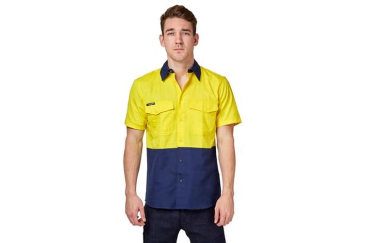 King Gee Workcool 2 Spliced Short Sleeve Shirt (Yellow/Navy, Size S)