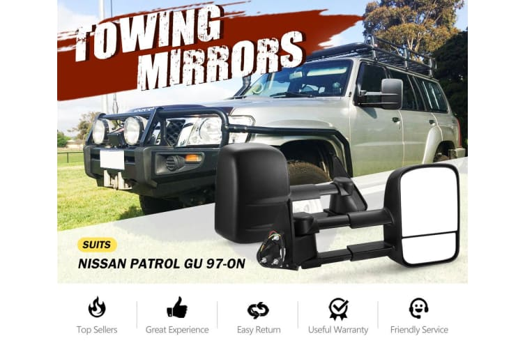 SAN HIMA Extendable Towing Mirrors fit NISSAN PATROL GU Y61 1997-2016 Black