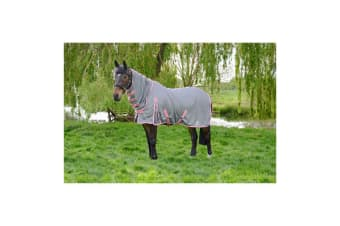 Hy Protect Full Neck Fly Rug (Grey/Coral) (5ft)