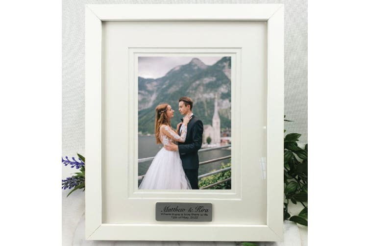 Wedding Personalised Photo Frame White Timber Verdure 5x7