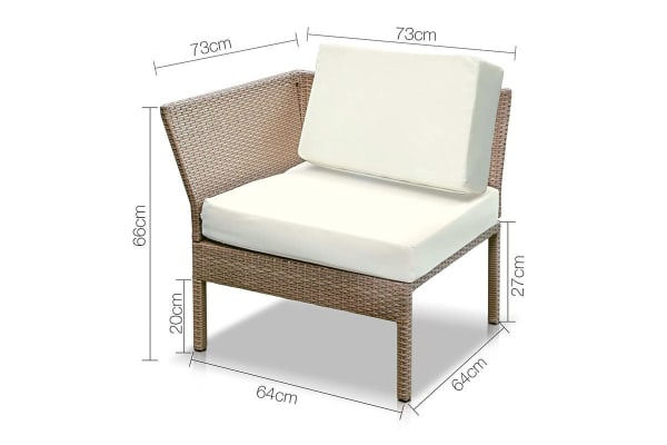 Miami 6 Piece Wicker Outdoor Lounge Set (Brown/Beige)