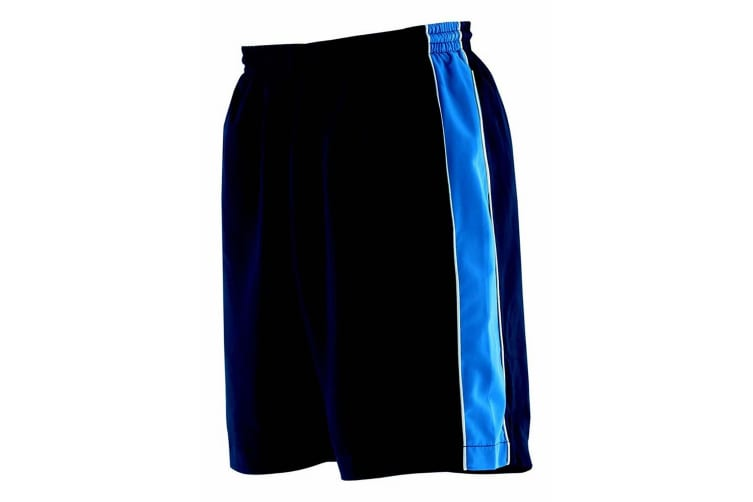 Finden & Hales Childrens Unisex Contrast Sports Shorts (Navy/Royal/White) (7-8)