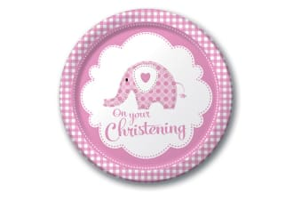 Creative Party Baby Girls Elephant Christening Plates (Pack Of 8) (Pink)