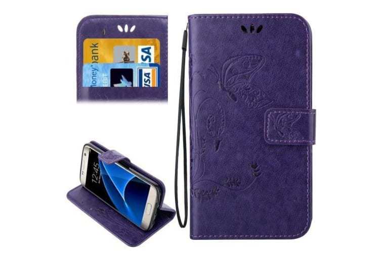 For Samsung Galaxy S7 Wallet Case Elegant Horse Leather Protective Cover Purple