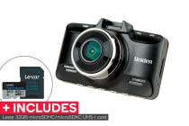 Uniden Full HD+ Compact Black Box Dash Cam Vehicle Recorder with Lexar 32GB High-Endurance microSDHC/microSDXC UHS-I card