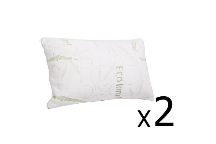Giselle Bedding Bamboo Pillow Memory Foam Pillows Contour Twin Pack Soft Hotel