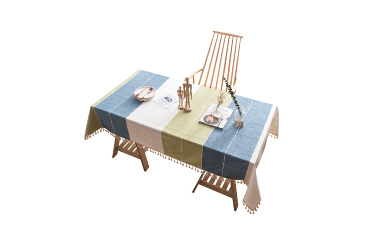 Tassel Tablecloth Heavyweight Cotton Linen Table Cover - White Green Blue White Green Blue 140*180Cm
