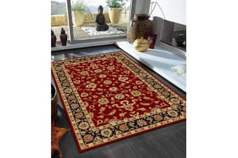 Classic Runner Rug Red with Black Border