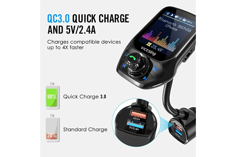 "Bluetooth FM Transmitter, Auto Scan Unused Station Bluetooth Radio Transmitter Adapter for Car with 1.8"" Color Screen, QC 3.0, EQ Modes, Aux, Hands-Free Calls"
