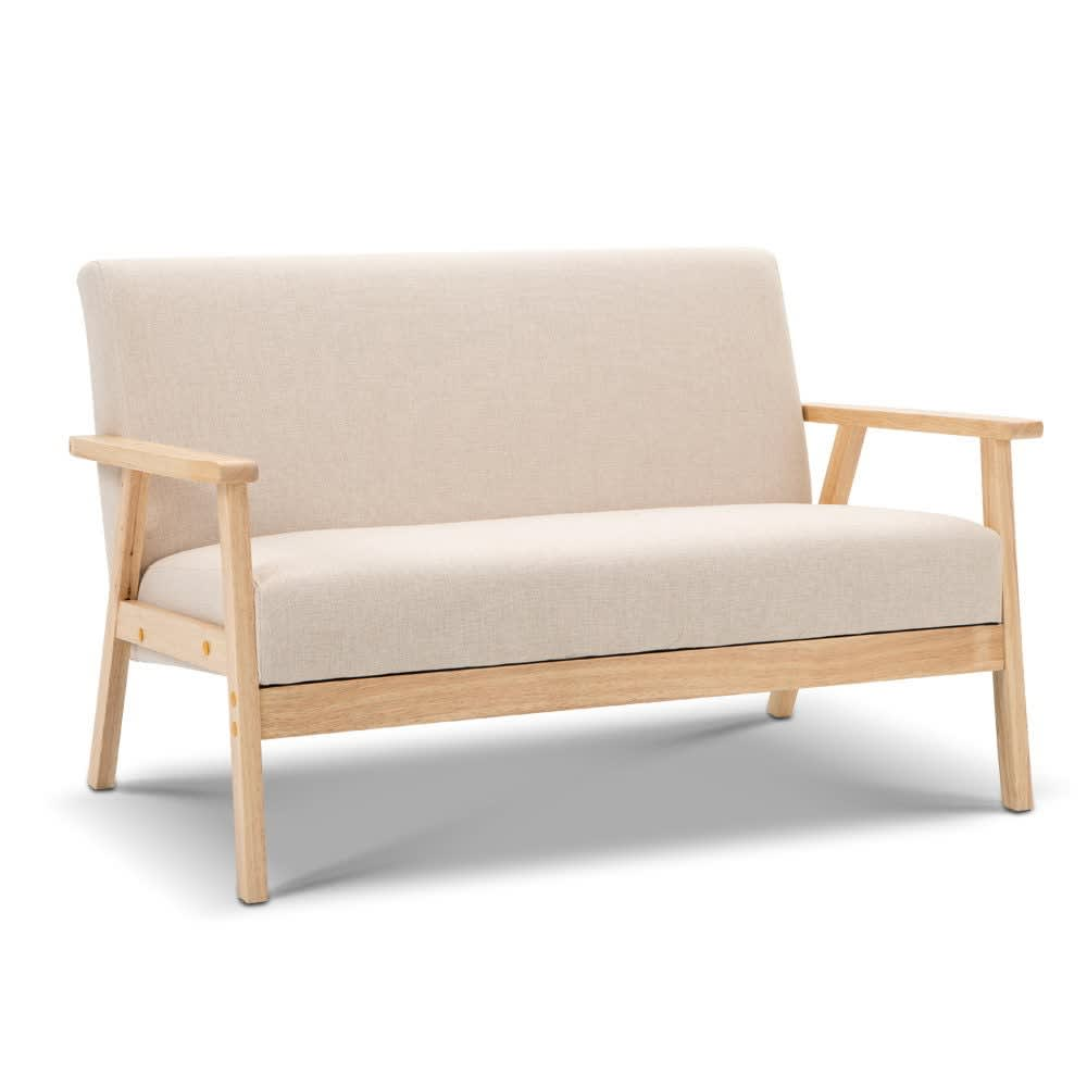 2seater fabric sofa couch beige