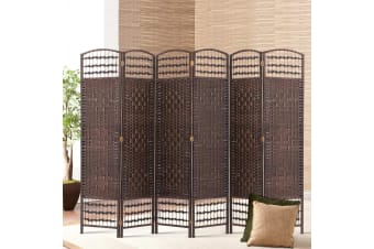 Artiss 6 Panel Room Divider Privacy Screen Curtain Dividers Rattan Timber Stand