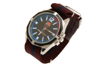 FC Barcelona Mens Coloured Strap Watch (Burgundy) (One Size)