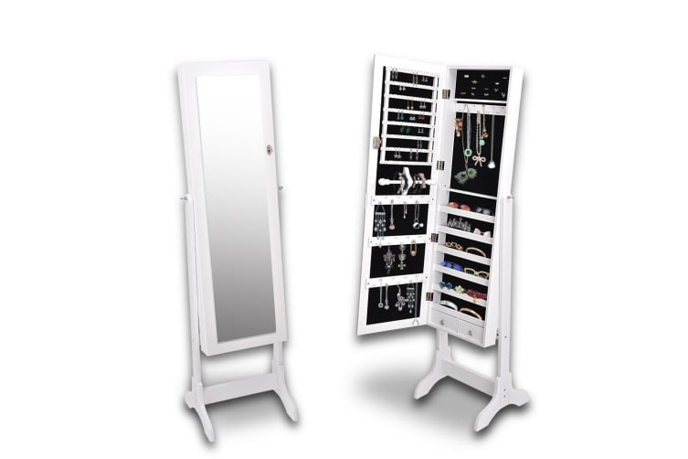 Levede Free Standing Mirrored Jewellery Dressing Cabinet with 2 Drawers White