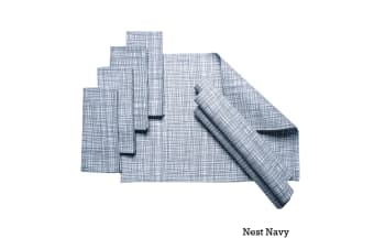 Set of 8 Cotton Napery Set Nest Navy by J Elliot Home