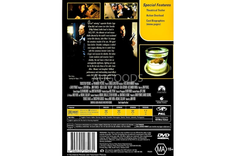 Face OFF - Region 4 Rare- Aus Stock DVD PREOWNED: DISC LIKE NEW