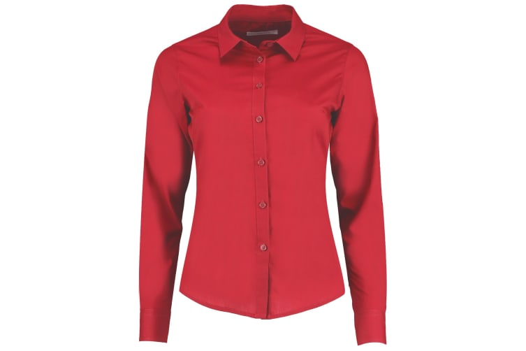 Kustom Kit Womens/Ladies Long Sleeve Poplin Shirt (Red) (6)