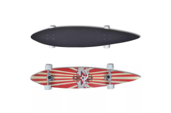 "vidaXL Longboard Star 117 cm 9 Ply Maple Skateboard 9"" ALU Truck Red"