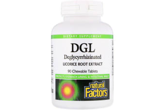 Natural Factors DGL Deglycyrrhizinated Licorice Root Extract 90 Chewable Tablets