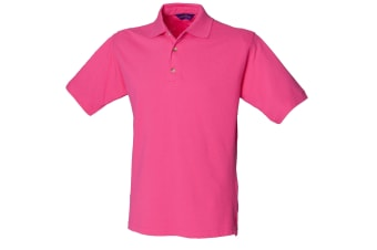 Henbury Mens Classic Plain Polo Shirt With Stand Up Collar (Fuchsia)