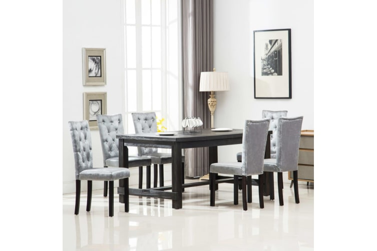vidaXL Dining Chairs 6 pcs Silver Velvet