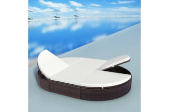 vidaXL Outdoor Lounge Bed with Cushion Poly Rattan Brown