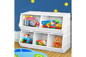Artiss Kids Toy Box Bookshelf Storage Cabinet Stackable Bookcase Shelf Organiser