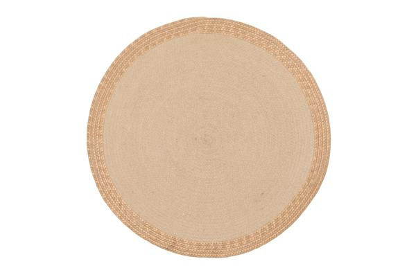 Milano Metallic Copper and Natural Jute Rug 120x120cm