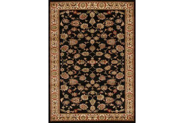 Traditional Floral Pattern Rug Black 330x240cm