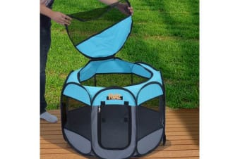 Portable Pet Playpen with Collapsible Bowl in BLUE 48""