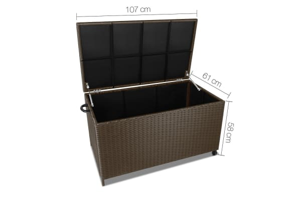 Wicker Outdoor Storage Box (Dark Brown)