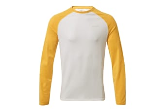 Craghoppers Mens NosiLife Bayame II Long-Sleeved T-Shirt (Indian Yellow/Optic White) (L)