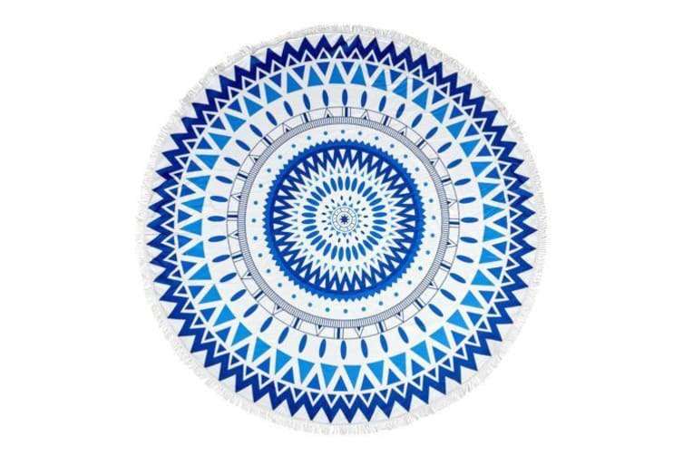 Milano Round Beach Towel with Tassels Print 140 cm 350 GSM Microfibre Blanket - Carillo