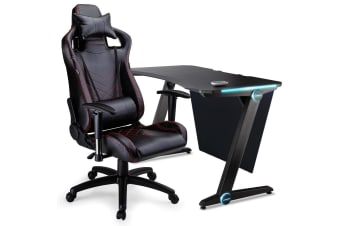 OVERDRIVE Gaming Chair Desk Racing Seat Setup Black Combo Office PC Lighting LED