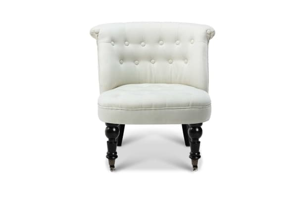 French Provincial Lorraine Accent Chair Linen Fabric (White)