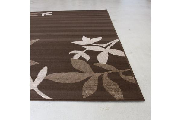 Modern Spring Leaf Rug Brown 280x190cm