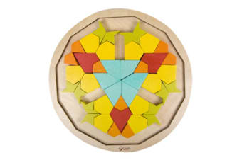 Colourful Wooden Mandala Blocks Puzzle Toy For Kids