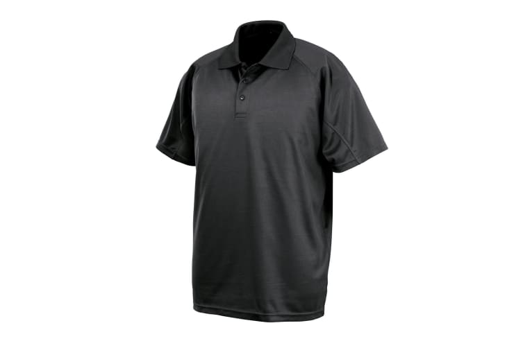 Spiro Impact Mens Performance Aircool Polo T-Shirt (Black) (XL)