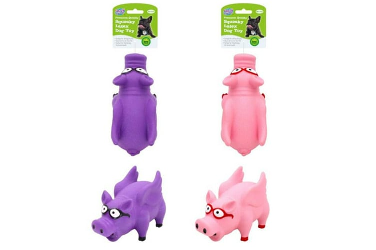 2 x Dog Puppy Squeak Toy Latex Flying Pig For Teeth Pet Chewing Toys Cat Kitten Fun
