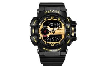 Mens Sport Quartz Digital Watch Blackgold