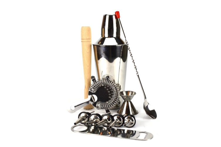 10 Piece Cocktail Shaker Set Ss - With Free Bar Blade