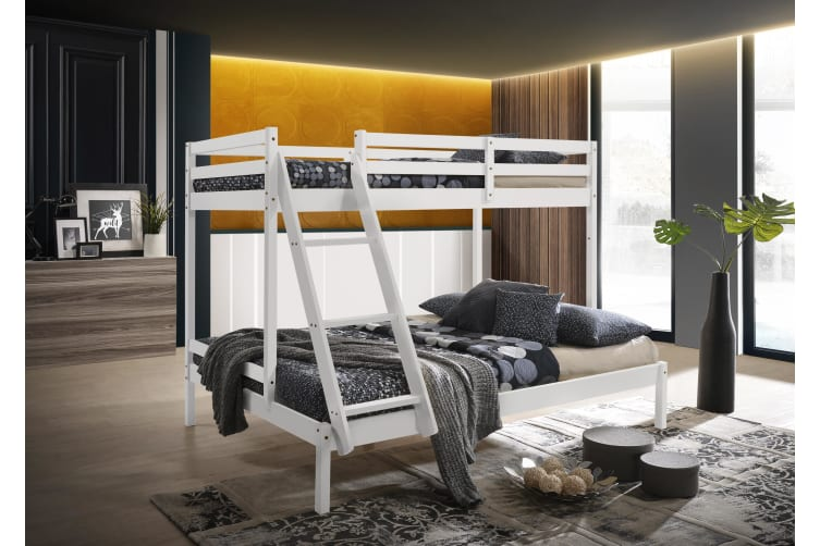 Single over Double Triple Bunk Bed Solid Timber Wooden Frame White